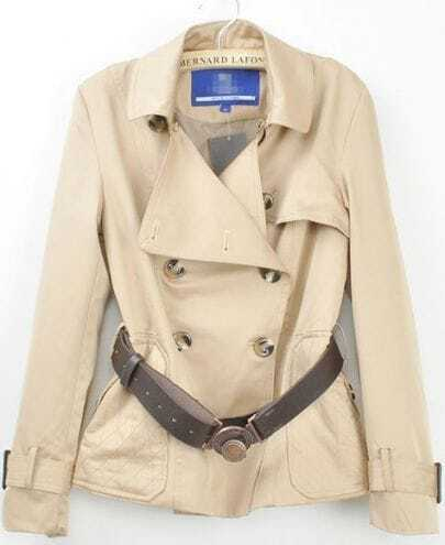 Khaki Lapel Drawstring Waist Double Breasted Crop Coat