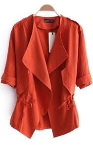 Orange Double Breasted Drawstring Waist Trench Coat