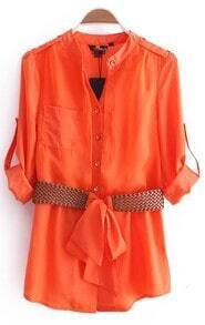 Orange High Neck Single Breasted Drawstring Waist Shirt
