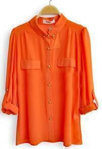 Orange Single Breasted Pockets Chiffon Shirt