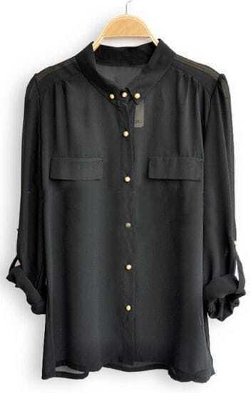 Black Single Breasted Pockets Chiffon Shirt