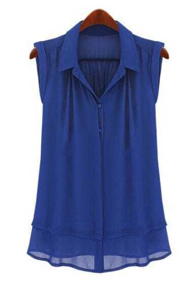 Blue Lapel Sleeveless Single Breasted Loose Shirt