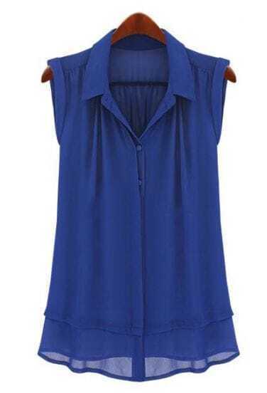 Chemise drapée avec revers à simple boutonnage-Bleu
