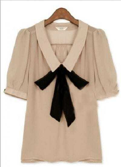 Beige Lapel Short Sleeve Bow Chiffon Shirt