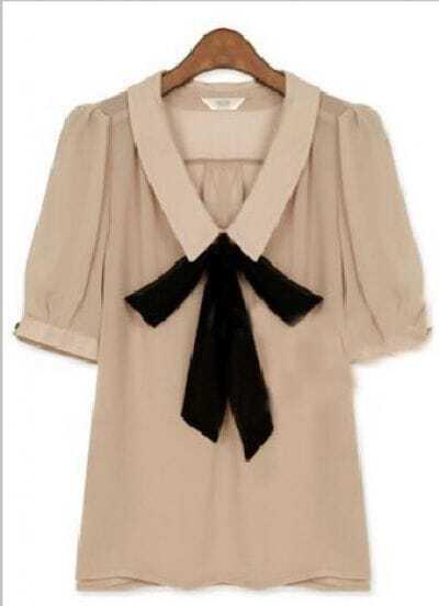 Beige Lapel Short Sleeve Bow Chiffon Shirt