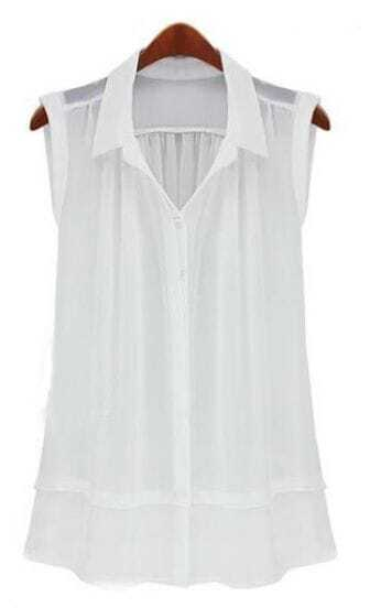 White Lapel Sleeveless Single Breasted Loose Shirt
