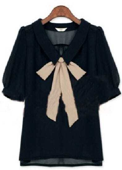 Navy Lapel Short Sleeve Bow Chiffon Shirt
