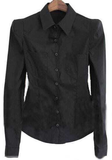 Black Lapel Long Sleeve Single Breasted Shirt