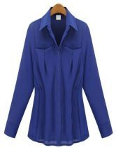 Blue Lapel Pleated Pockets Chiffon Shirt
