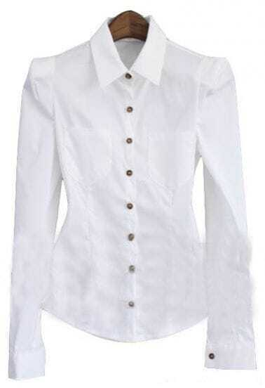White Lapel Long Sleeve Single Breasted Shirt