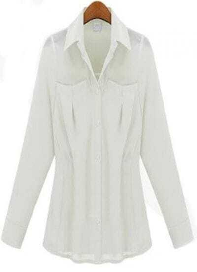 White Lapel Pleated Pockets Chiffon Shirt