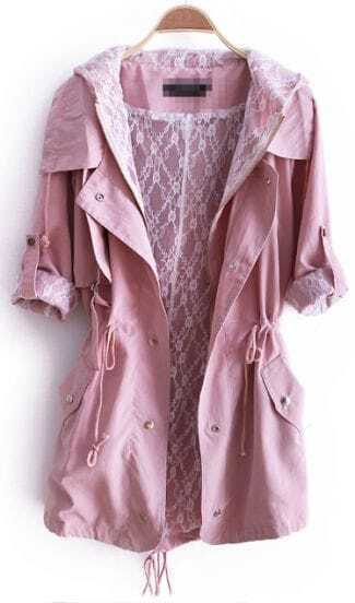 Pink Hooded Zipper Pockets Trench Coat