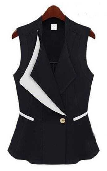 Black Street Lapel Single Button Pockets Vest