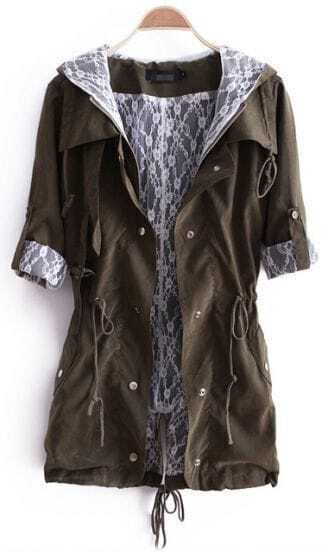 Army Green Hooded Zipper Pockets Trench Coat