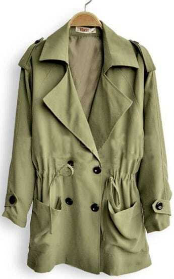 Army Green Double Breasted Drawstring Waist Trench Coat