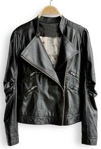 Black High Neck Zipper PU Leather Coat