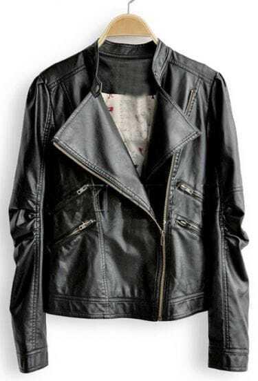Black High Neck Zipper PU Leather Coat