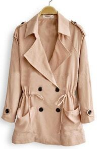 Light Nude Double Breasted Drawstring Waist Trench Coat