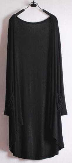 Black Long Sleeve Pockets Loose Modal Coat