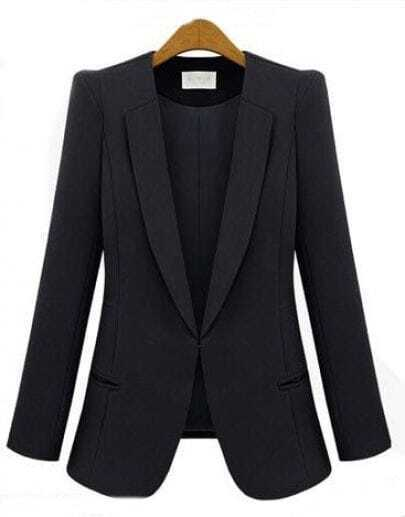 Black V Neck Long Sleeve Pockets Polyester Suit