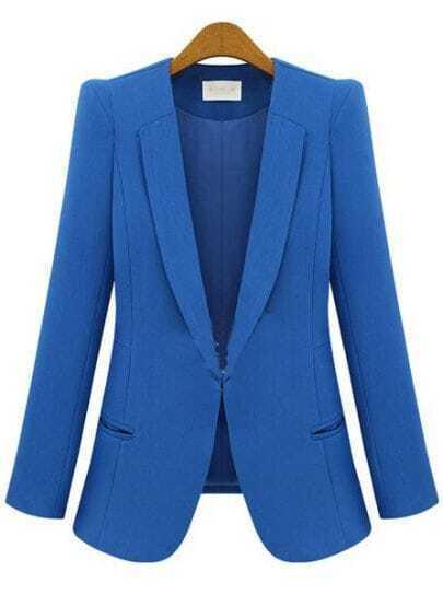 Blue V Neck Long Sleeve Pockets Polyester Suit