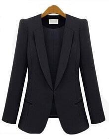 Black V Neck Long Sleeve Pockets Polyester Suit