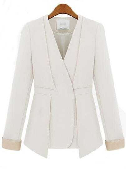 White Street V Neck Long Sleeve Fitted Suit