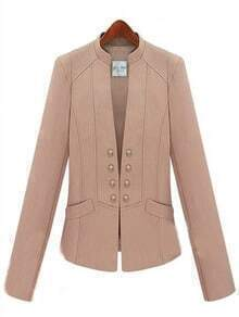 Pink Street High Neck Double Breasted Pockets Suit