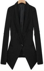 Black Lapel Long Sleeve Single Button Fitted Suit