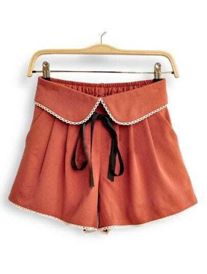 Red High Drawstring Waist Lace Bow Skirt Shorts