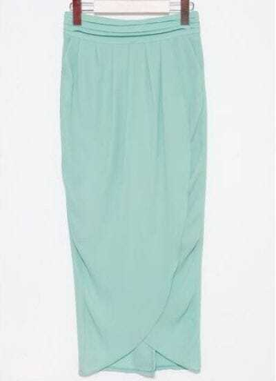 Green Elasic Waist Asymmetrical Full Length Skirt