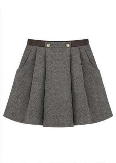 Grey Street Button Zipper Above Knee Skirt