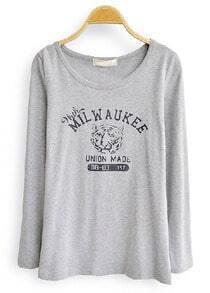 Grey Round Neck Tiger Print Slim T-Shirt
