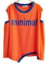 Orange Hollow Letters Print Loose Sweatshirt