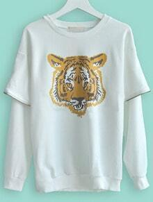 White Round Neck Tiger Print Zipper Sweatshirt