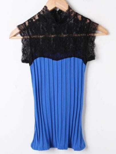 Blue Lace Hollow Broken Stripe Cotton T-Shirt