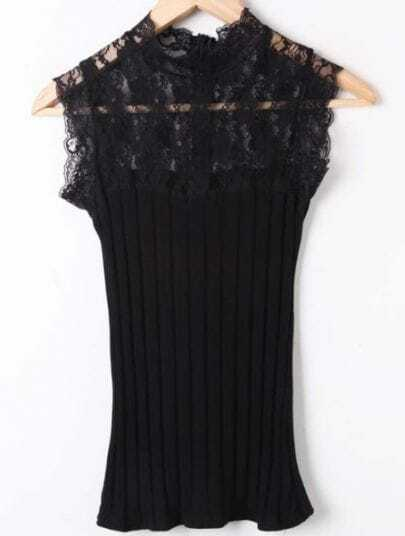Black Lace Hollow Broken Stripe Cotton T-Shirt