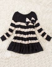 Black White Striped Bow Pleated Lyocell Dress