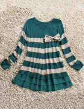 Green White Striped Bow Pleated Lyocell Dress