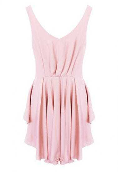 Pink Backless Drawstring Waist Pleated Dress