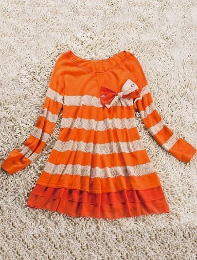 Orange White Striped Bow Pleated Lyocell Dress