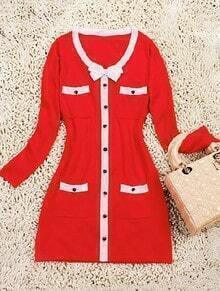 Red Single Breasted Bow Pockets Acrylic Dress