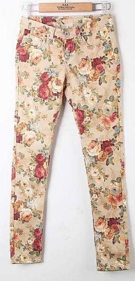 Multi Vintage Low Waist Floral Cotton Pant