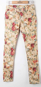 Multi Vintage Low Waist Floral Cotton Pant