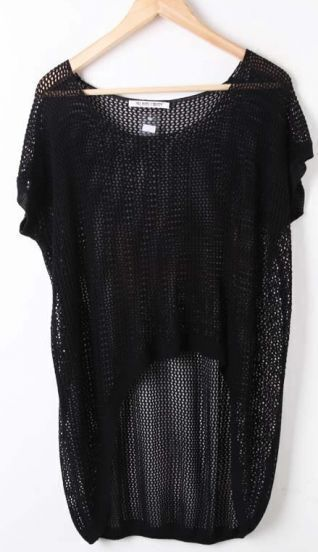 Black Round Neck Hollow Batwing Loose Cotton Sweater