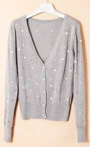 Light Grey Single Breasted Polka Dot Embroidery Sweater