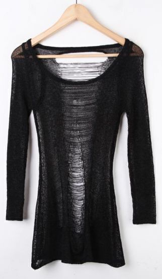 Black Ripped Sheer Hollow Cotton Sweater