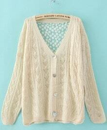 Beige Single Breasted Hollow Lace Sweater
