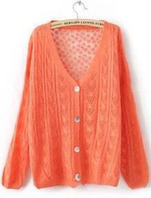 Orange Single Breasted Hollow Lace Sweater