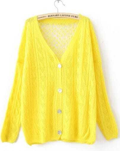 Yellow Single Breasted Hollow Lace Sweater